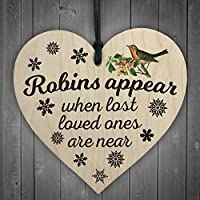 Red Ocean Robins Appear When Lost Loved Ones Are Near Wooden Hanging Heart Memorial Christmas Tree Decoration Plaque
