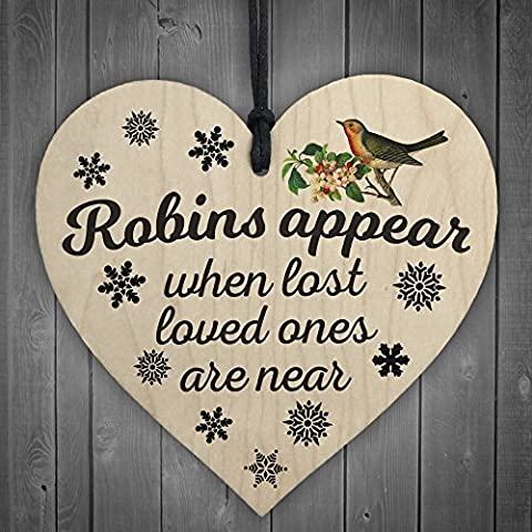 Red Ocean Robins Appear When Lost Loved Ones Are Near Wooden Hanging Heart Memorial Christmas Tree Decoration