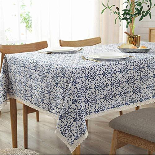Qubng Tischdecke aus Baumwolle und Leinen Tischdecke Graffiti grünes Blatt Dreieck geometrische quadratische Tischdecke in Blau und Weiß (140 * 140CM) - Quadratische Tischdecke Weiße Leinen