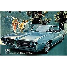 Pontiac Custom S de 4Door Hard Top 1969Auto Reklame barschild, US, Azul, sportswagen