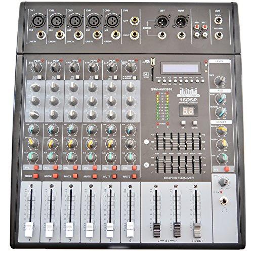 QSM Powermixer Mischpult Mixer 6-channel USB AUX FM bis zu 4 Boxen 8 Ohm - 1000 Watt - Dj-powermixer