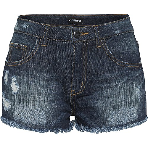Chiemsee Damen Jeans Hot Pants, mit Franseln Am Saum Bekleidung/Hose Shorts, 690 Navy, 28