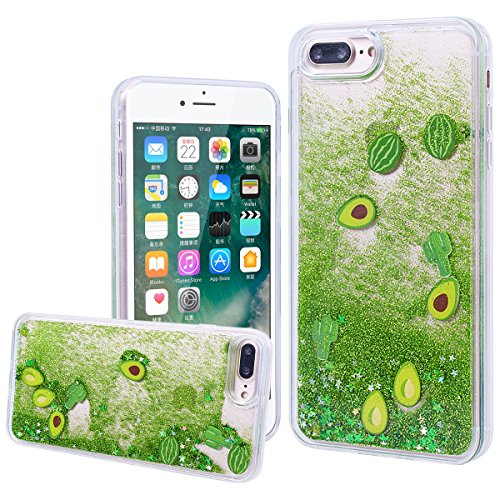 "WE LOVE CASE iPhone 7 Plus / iPhone 8 Plus Hülle Wassermelone Glitzern Treibsand Transparent Flüssig Kristall klar Quicksand Diamant Liquid Liebe Sterne iPhone 7 Plus / iPhone 8 Plus 5,5"" Hülle Grün S Cactus green quicksand"