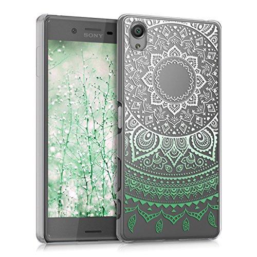 kwmobile Crystal Case Hülle für Sony Xperia X mit Indische Sonne Design - transparente Schutzhülle Cover klar in Mintgrün Weiß Transparent