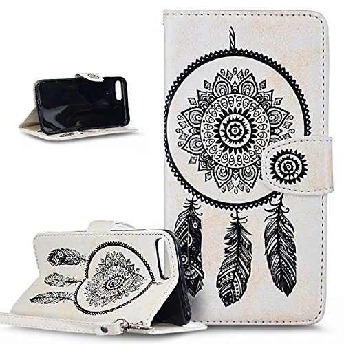 Custodia iPhone 7 Plus,iPhone 7 Plus Cover, ikasus® iPhone 7 Plus Custodia Cover [PU Leather] [Shock-Absorption] Protettiva Portafoglio Cover Custodia Goffratura Henna Mandala floreale Blumen Dreamcat Dream Catcher:Bianco