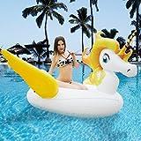 HooYL Flotador gigante con forma de Unicornio con alas. Juguete perfecto para la piscina, playa o mar abierto (Amarillo)
