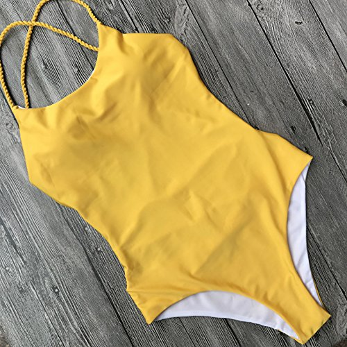 Schwimmen Quicksilver Kostüm - WDDBJN Bikini/Sommer Womens Backless Bandage Thong Schwimmen Kostüm Padded Swimsuit Bademode Push Up Sets, S, Gelb