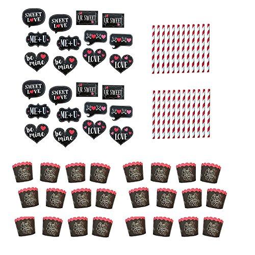 Mixed Cupcake-Back-Set zum Valentinstag, mit Backförmchen, dekorativen Strohhalmen und Topper für 24 Stück