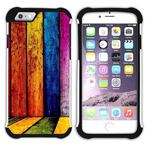 Graphic4You Regenbogen Farben Hart + Weiche Kratzfeste Hülle Case Schale Tasche Schutzhülle für Apple iPhone 6 / 6S Design #12