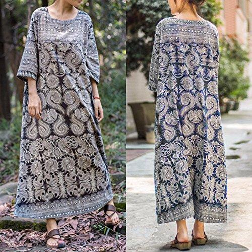ZANZEA Frauen Plus Size lose Baumwollblumentaschen Maxi Tunika Langes Kleid (Home-kleider Für Frauen)