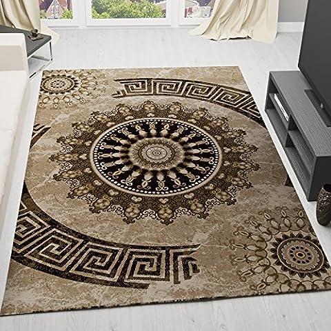 Teppich Klassisch Gemustert Kreis, sehr dicht gewebt, Meliert Ornamente Muster in Braun Beige Schwarz - Top Qualität, VIMODA, Maße:60 cm x 110 cm