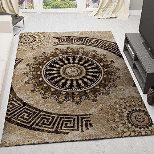 Tappeto classico con motivo a cerchio vimoda, ti tessuti, screziato con ornamenti modello, top qualità, marrone/beige/nero - marrone, 50x80 cm