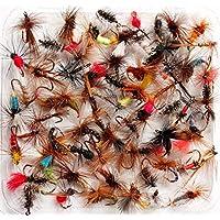 Lakeland Fishing Supplies 10, 25, 50 o 100 Moscas de Trucha secas Mixtas para Pesca con Mosca, Hook Size 12