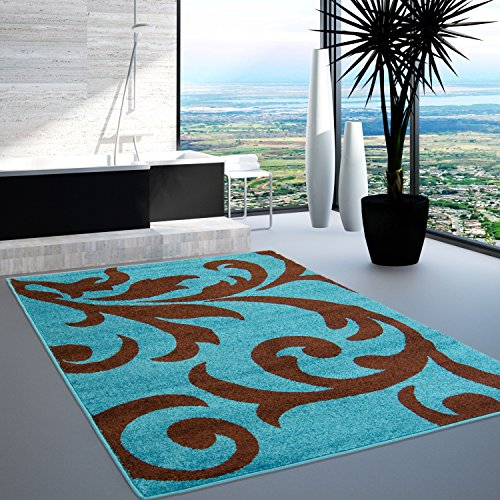 tappeto-design-moderno-moda-floral-oko-tex-nero-e-grigio-varie-dimensioni-acrilico-turkis-braun-160-