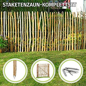 Staketenzaun Aus Kastanienholz H120cm L10m Staketenabstand8cm