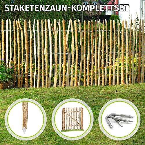HORI Staketenzaun Komplettset aus Haselnuss I Lattenabstand 7-8 cm I wahlweise mit Gartentor und Pfosten I Zaunlänge 2,5 m I Höhe 60 cm