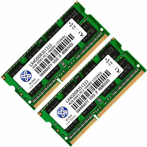 XUM 1x 2x 1GB 2GB 4GB 8GB DDR3DDR3–1333MHz 1333PC3–10600SODIMM für Notebook Arbeitsspeicher Modul RAM Komputer PC 8 GB (2 x 4 GB)
