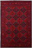 CarpetFine: Afghan Khal Mohammadi Teppich 196x292 Rot - Handgeknüpft - Ornament