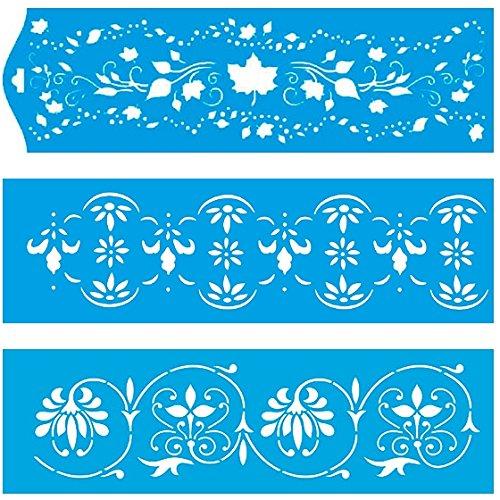 (Satz von 3) 28cm x 8cm Flexibel Kunststoff Universal Schablone - Wand Airbrush Möbel Textil Decor Dekorative Muster Design Kunst Handwerk Zeichenschablone Wandschablone - Blätter Blumen Sommer Ahorn (Ahorn-blätter-schablone)
