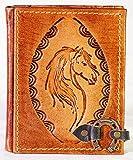 Vintage Notizbuch aus Leder | Pferd | Handarbeit | Braun | Größe S - ca. DIN A6 | 240 Seiten | Reittagebuch | Notebook | Tagebuch | Gästebuch | Reisetagebuch | Skizzenbuch | Geschenk |