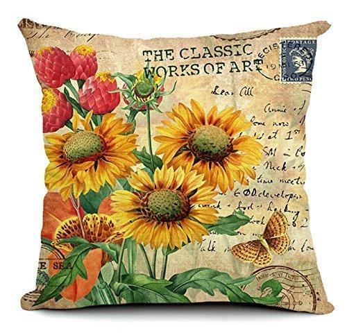 1 X 18 X 18 SunfloweCotton Linen Decorative Throw Pillow Cover Cushion Case Cloth Art Toy Pillow Case Blue Pillow Cases -