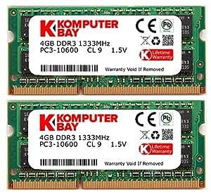 Komputerbay 8GB (2x 4GB) DDR3 SODIMM (204 pin) 1333Mhz PC3-10600 (9-9-9-25) Portatif Notebook Mémoire pour Apple Macbook Pro