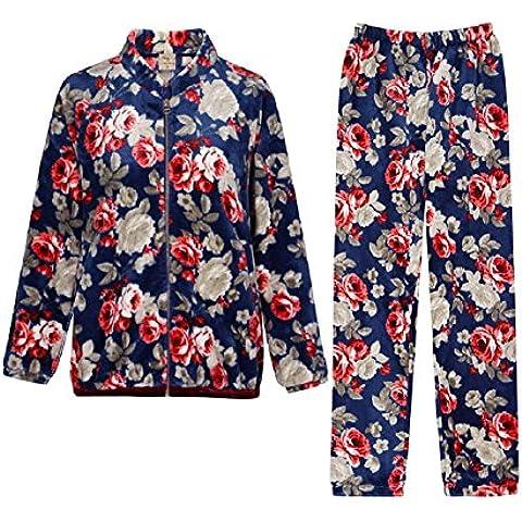 GJX Otoño y largo invierno de la mujer - manga larga franela pijamas Pastoral Floral collar largo de mangas de Chandal , 160