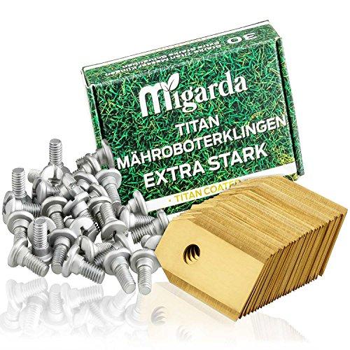 Migarda Titan-Klingen inkl. eBook- [30x] Ersatzmesser mit verbesserten Schrauben für maximale Langlebigkeit - Messer für Husqvarna Automower & Gardena Mähroboter