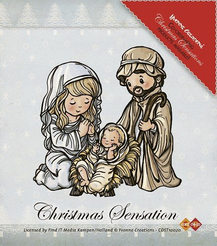 Karte Deco, Weihnachten Sensation Jesus Maria und Joseph Yvonne Creations Briefmarken