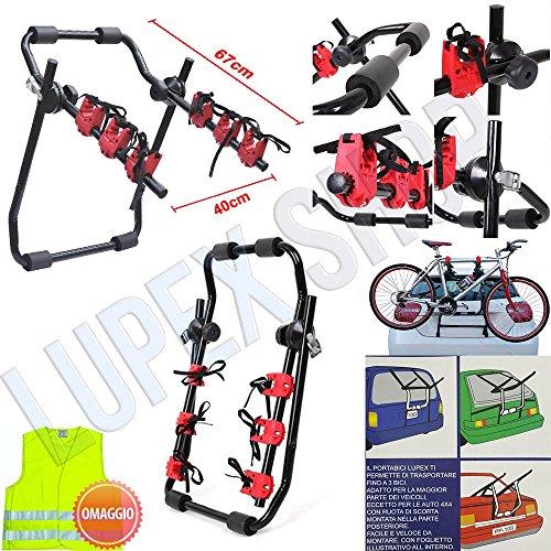 Portabici posteriore per auto PBLS01 fino a 3 bici universale bicicletta in vacanza parco mare - prodotto certificato e omologato + Gilet di emergenza in omaggio