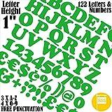 """Buchstaben und Zahlen Packung von 122 Stück X 1"""" (2,5 cm) Selbstklebend = Foont Cooper Aufkleber, kostenlose Interpunktion, waschsicher, großes Beschriftungsschild-Schreiben 25 mm grün"""