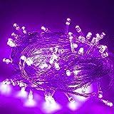 AIZESI LED Lichterkette 20m mit Batterie Lichterkette Außen 200 LEDs Kupferdraht Wasserdicht Sternen strombetrieben mit Multi Flashing Modes Controller(Lila)