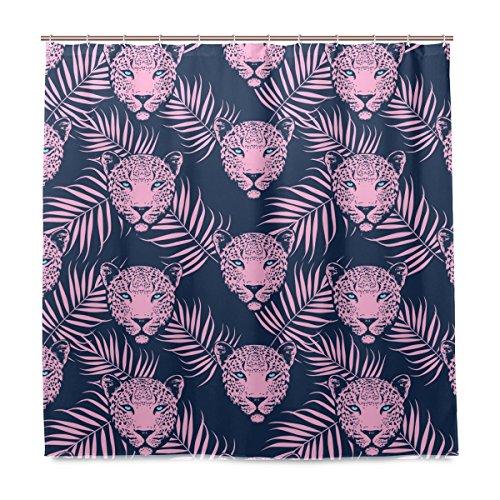 Yibaihe Dusche Vorhänge Leopard mit Palm Blätter Polyester Stoff Gedruckt Schimmelresistent Wasserdicht für Badezimmer Badewanne, 12Haken 183x 183cm (Palm-baum-dusche Vorhang Ringe)