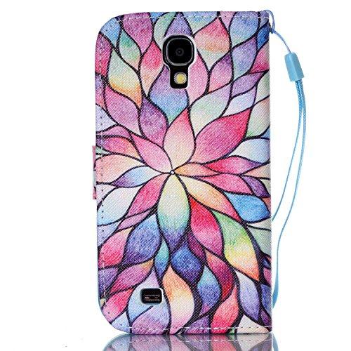 Meet de Samsung Galaxy S4 GT-i9505 Bookstyle Étui Housse étui coque Case Cover smart flip cuir Case à rabat pour Galaxy S4 GT-i9505 Coque de protection Portefeuille - this iphone is locked slide to un couleur Lotus