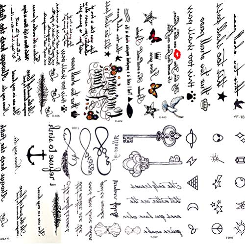 CIHKIKO 5 stücke Sexy Feder Worte Black Letter Finger Arm Körperkunst Zeichnungen Temporäre Tätowierung Aufkleber Tattoo Mädchen Männer Hand Make-Up Tattoo (Halloween-make-up Armee Mädchen)