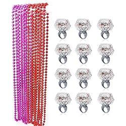 Konsait Anillo Luminosas LED para hombre mujer Fiesta Accesorios con perlas collares para Boda, Cumpleaños, Disfraces de Fiesta despedida de soltera Gallina Noche (24pcs)