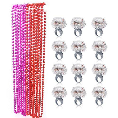 Party Beads Halsketten (12ST) & LED Zubehör Bumpy Ringe Light up Finger Toy (12ST), Konsait Bachelorette Party Light up Rings mit Bachelorette Party (Kostüme Für Mädchen Und Halloween Schnelle Einfache)