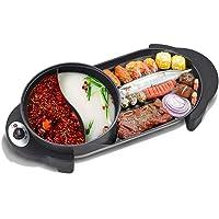 CUIJU Barbecue électrique avec revêtement antiadhésif Hot Pot, Hot Pot avec Couvercle en Verre 2 en 1 Korean Electric…