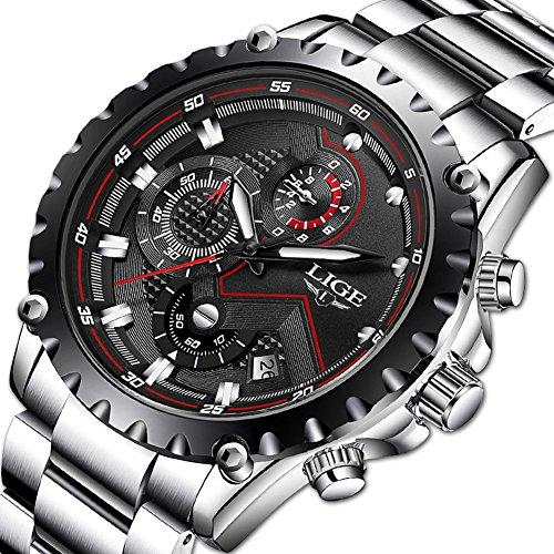 Orologio da uomo lige cronografo impermeabile sportivo analogico al quarzo orologi lusso affari moda acciaio inossidabile orologi da polso