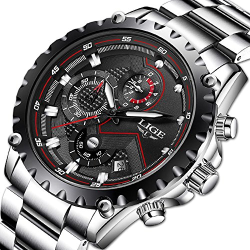 Herren Wasserdicht Sport Uhren Herren Luxusmarke LIGE Geschäfts Mode Analog Quarzuhr Herren Edelstahl Schwarz Armbanduhren