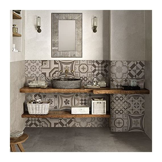 Argent/é Autocollant acrylique de mur de miroir,Dinglong 1set//6pcs miroir tuile autocollant carr/é auto adh/ésif salle de bain Decor Stick sur