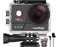 LeadEdge Cámara Deportiva 4K 20MP EIS Anti-Vibración Micrófono Externo con Control Remoto Wi-Fi 170° Gran Angular Camara Acuá
