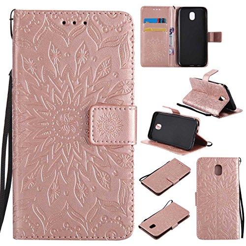 Bear Village Funda Samsung Galaxy J5 2017, Cuero Fundas con [Garantía de por Vida], Protección De Cuerpo Completo Carcasa Case Cover para Samsung Galaxy J5 2017 (#8 Oro Rosa)