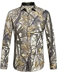 SSLR Camisa Hombre Manga Larga Casual Estampada Regular Fit Hunting Shirt