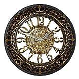 Foxtop 12 Zoll Antike Vintage Retro Wanduhr ohne Ticken, Silent Nicht-tickende Wanduhr Uhr w Frontglas-Abdeckung für Wohnzimmer Küche Schlafzimmer Dekoration, Gold