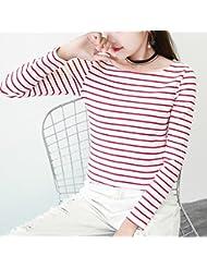 XuankuRayas Long-Sleeved Wild Ocean Spirit Camiseta Viento Flojo Round-Neck Collar Recubierto De Rayas Blancas Y Negras Ropa L