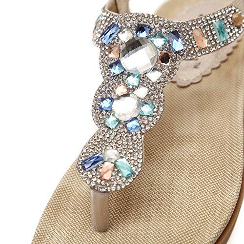 Infradito Mare Donna Estive - Landove Sandali Moda con Strass Boemo Stile Scarpe Piatto Tacco Pantofole Oro