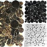 Marmor Naturstein Mosaik Fliesen Round Rund Poliert | Wand-Mosaik | Mosaik-Fliesen | Glas-Mosaik | Fliesen-Bordüre | Ideal für den Wohnbereich und fürs Badezimmer (MUSTER ERHÄLTLICH) (Matte, Emperador)