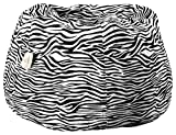 Story@Home XXL Zebra Print Canvas Bean Bag Chair Cover Without Beans, Black