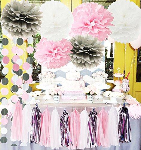 (Erste Geburtstag Dekorationen Mädchen Baby Rosa Grau Baby Mädchen Baby Shower/Party Dekorationen Seidenpapier Pom Pom Quaste Garland Kreis Papier Girlande Winter Gefrorene Party)